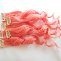 Electric Coral Human Hair Extensions : Clip In Hair Extensions, Orange Hair Extensions, Ombre Hair, Red Pink Hair Extensions