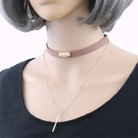 Gothic Punk Black/Brown Velvet Leather Choker  with Gold/Silver Layer Chain Necklace
