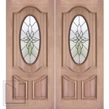 "Decorative Oval Lite, Prehung Mahogany Double Entry Door, 72""x80"""