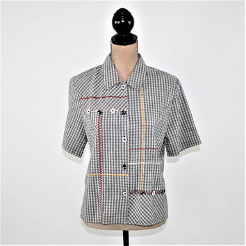 Short Sleeve Button Up Shirt Women Medium Petite Gingham Top Casual Cotton Embroidered Black White Koret Vintage Clothing Womens Clothing