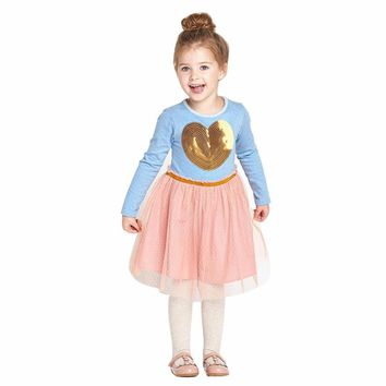 Girls Dress Baby Blue Long Sleeves Pink Tulle Gold Sequin Heart