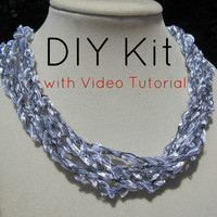 Kit 1, Crochet Ladder Ribbon Necklace Kit with Video Tutorial, White and Black