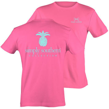 Simply Southern Classic Preppy Pineapple Pink T-Shirt