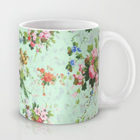 Antique romantic vintage 1800s Victorian floral shabby rose flowers pattern aqua mint hipster print Mug by iGallery | Society6