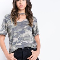 Soft Camo Choker Top