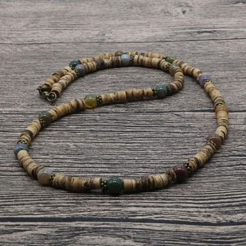 2018 Vintage Rustic Men Beaded Necklace Natural India Onyx Coconut Shell Necklace For Men Tribal Jewelry Best Friend Gift  SU-07