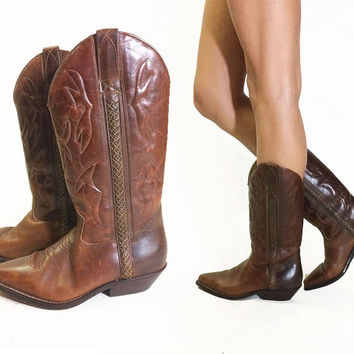 Vintage COLE HAAN Country Whiskey Brown Leather Western Embroidered Cowboy Boots || Size 8.5 to 9