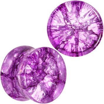 "1/2""  Cosmic Violet Shattered Glass Saddle Plug Set"