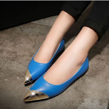 Womens Classy Gold Pointy Tip Flats