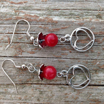 Ruby red jade wire wrapped earrings -heart jewelry -jade gemstone jewelry -jade earrings -valentines for women -Valentines jewelry