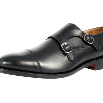 Anthony Veer Mens Roosevelt II Oxford Double Monk Strap Leather Shoe in Goodyear Welted Construction Black 11.5 E US '