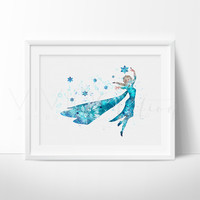 Princess Elsa, Frozen Watercolor Art Print