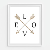 Arrow Art Print, Faux Gold Glitter Arrows, Love Art, 5x7, 8X10, 11x14 Black And White, Bedroom Wall Decor, Dorm Wall Decor, Girly Art