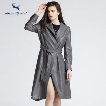 Athena Special Spring Women PU Leather Jackets Motorcycle Street Style Ladies' Outwear Trench Coat Jacket With Belted