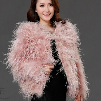 2016 new winter Ostrich fur jacket feather fur coat casual long-sleeved Australia imported 100% authentic fur ostrich jacket
