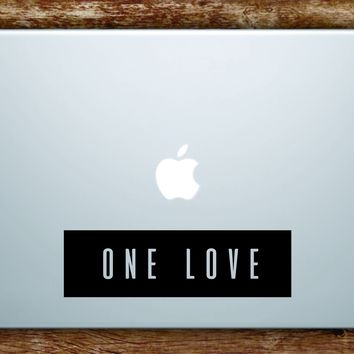 One Love Rectangle Laptop Apple Macbook Quote Wall Decal Sticker Art Vinyl Bob Marley Music Reggae Rasta Good Vibes