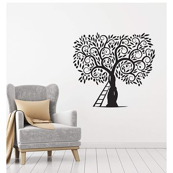 Vinyl Decal Decor Style Wall Sticker Mural Tree Ladder Nature Leaves Unique Gift (g051)