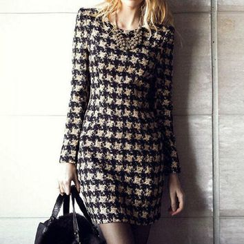 PEAPON Houndstooth round neck long-sleeved dress