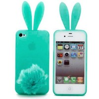 W-RainBow Lively and lovely Bunny Rabbit Case for iPhone 4/4G/4S (Mint Green)