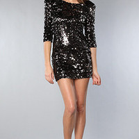 Black Sequin Party Dress BLAQUE LABEL PARIS Long Sleeve Mini Scoop Back XS $132