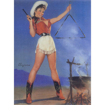 Cowgirl Barbeque Pin Up Girl Poster Wood Sign