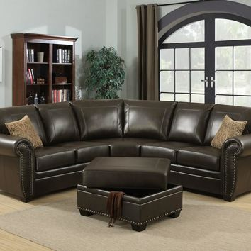Louis 3 Piece Brown Traditional Living Room Sectional