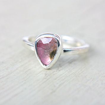 Watermelon Tourmaline Ring Sterling Silver Natural Rose Cut Tourmaline Engagement Gemstone Engagement Ring Size 6-7 Silversmith