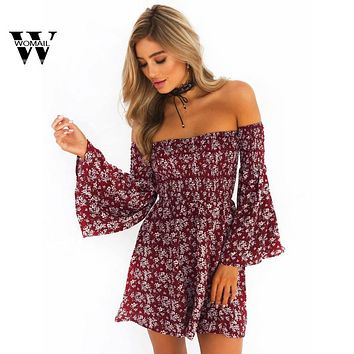 2018 hot sale Fashion Women Casual off shoulder Summer Beach Casual Evening Party Short Mini Dress drop shipping New Apr 20
