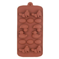 Rabbit Duck Shaped Silicone Biscuit Chocolate Mold Tray (Coffee)