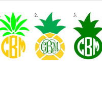Pineapple Personalized Monogram Decal, Monogram Sticker, Custom Decal, Car Decal Monogram, Car Initials Vinyl Initials Vinyl Lettering