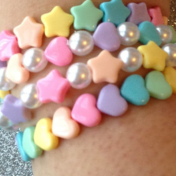 Pastel Rainbow Heart and Star Bracelet Set with Faux Pearl Beads - Set of 4