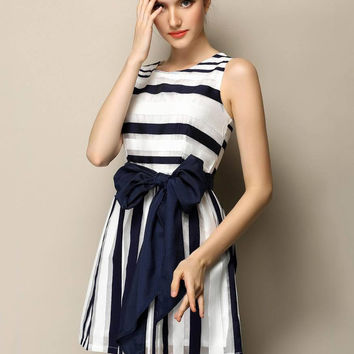 Blue and White Striped Sleeveless Bow Belted A-Line Mini Dress
