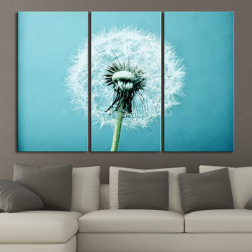 Large Wall Art Dandelion Flower Canvas Print on Turquoise Background Blowball Canvas Printing