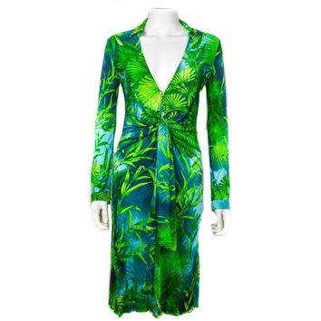 Versace Dress Most Famous Ever  Floral Tropical Print  Blue Green US 0