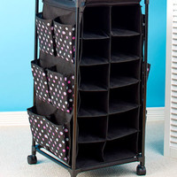 Polka Dots Rolling Shoe Storage Organizer Unit W/Bins & Pockets Bedroom