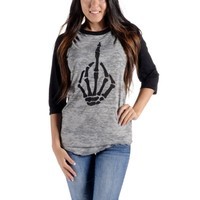 "Women's ""Fingered"" Burnout Baseball Tee by Angry Blossom (Grey/Black)"