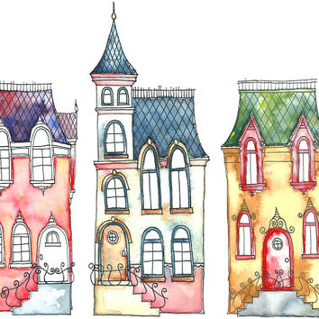 Little Street, A4 Art Print, fairytale inspired houses,watercolor illustration, wall decoration, nursery art