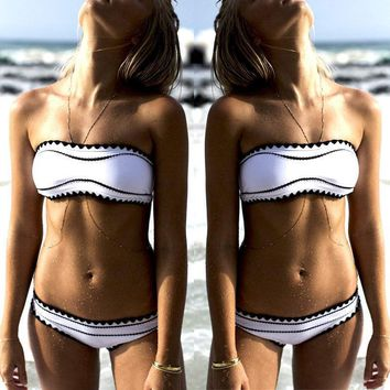 Sexy Womens Bandage Bikini Bra Set Push-up Swimwear Bandeau Swimsuit Beach Bathing suit GLANE