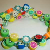 Fruit Salad Memory Wire Bracelet Colorful Free by moonknightjewels