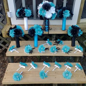 15 Piece Daisy Bouquet Set,  Black White Turquoise Malibu Blue Wedding Bouquet Set