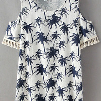 white Coconut Printed Short Sleeve Fringed Dress