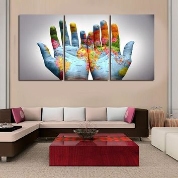 New Fashion 3 Pieces Hand Map Printed Canvas Painting Living Room Wall Art Pictures Home Decoration