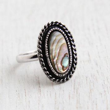 Vintage Abalone Shell Ring - Retro Signed Sarah Coventry 1970s Silver Tone Adjustable Costume Jewelry / Sea Treasure