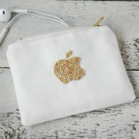 Headphone pouch, gold iPhone charger case, earphone case Apple earbud case, cord cable organizer, iPhone headphone case, earbud pouch holder