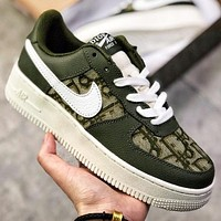 Dior x Nike Air Force 1 Low New fashion more letter hook couple running shoes Army Green