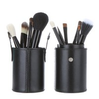 TOMTOP 12pcs Professional Makeup Brush Set Cosmetic Brush Kit Makeup Tool with Cup Leather Holder Case (Black)