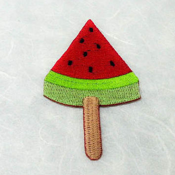Watermelon Ice Pop Iron on Patch (L) - Watermelon Ice Pop, Lollipop Candy Applique Embroidered Iron on Patch-Size 4.8x8.1cm