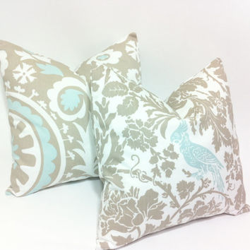 Light Blue and Taupe Decorative Throw Pillow Covers Bird Suzani Print Accent Pillow 18x18 inches