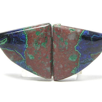 Arizona Azurite in Matrix Matched Cabochon Earring Pair 18 cts total