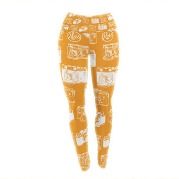 "KESS Original ""Camera Pattern"" KESS Orange Yoga Leggings"